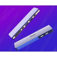 Bộ chuyển 2 Type-C to 2 USB 3.0+SD+TF+Type-C +Type-C PD 3.0 Philips DLK5517C/94